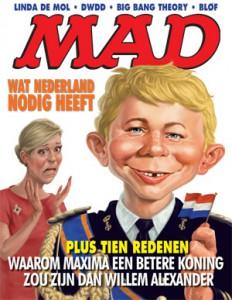 De cover van het eerste nummer van MAD van vorig jaar. Inmiddels is de nieuwe reeks alweer stopgezet wegens tegenvallende verkoopcijfers.