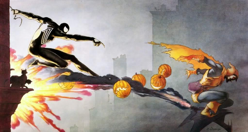 Spider-Man versus The Hobgoblin. Illustratie: Charles Vess