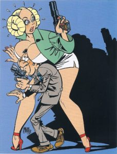 Agent 327 en Olga Lawina, misschien wel de bekendste vrouw uit de reeks. Illustratie: Martin Lodewijk