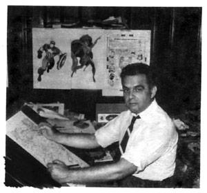Jack Kirby in zijn tekenstudio thuis. Bron: seanhowe.tumblr.com