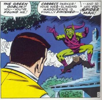 De Goblin confronteert Peter vlak voor het huis van Tante May.