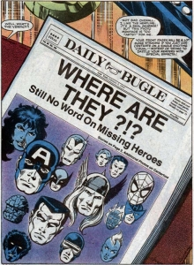 The Daily Bugle schrijft over de verdwenen superhelden (want niemand buiten de helden en schurken weet iets van Secret Wars.