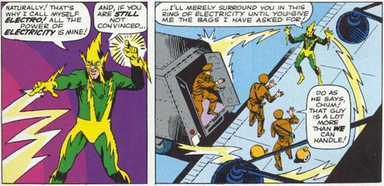 Electro maakt zijn debuut in Amazing Spider-Man #9 en zoals je kunt zien, is het geen aardige jongen. Tekst: Stan Lee, Tekeningen: Steve Ditko.