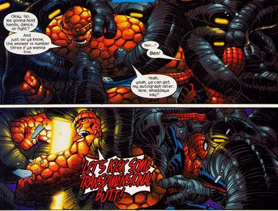 The Thing en Spidey aan het vechten met de Silent Ones.