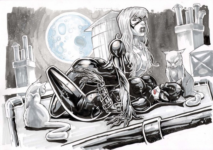 Black-cat-vs-Catwoman-by-Vinz-el-Tabanas