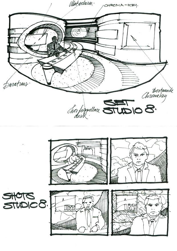 Decorontwerp en storyboard voor NOS Journaal (1995), ontwerp Dirk Debou en André Postma.