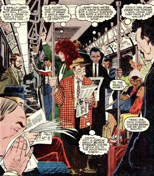New Yorkse metro in het Marvel Universum anno 1988. Illustratie John Romita Jr. (Daredevil #252)