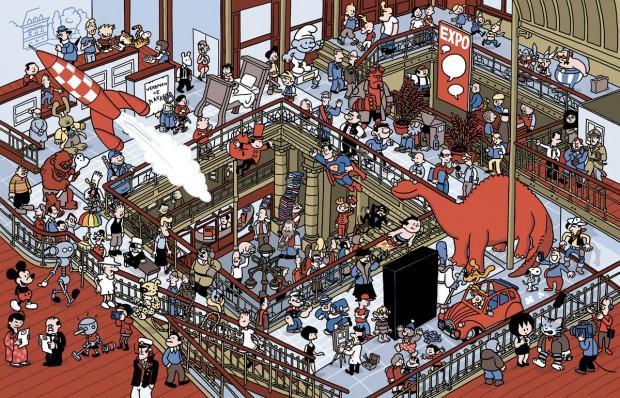 Pieter De Pootere maakte speciaal voor 25 jaar Stripmuseum deze overzichtsplaat