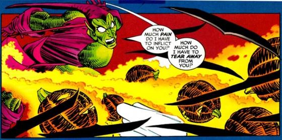 Green Goblin valt Spidey aan. Art: JRJR, script: Howard Mackie