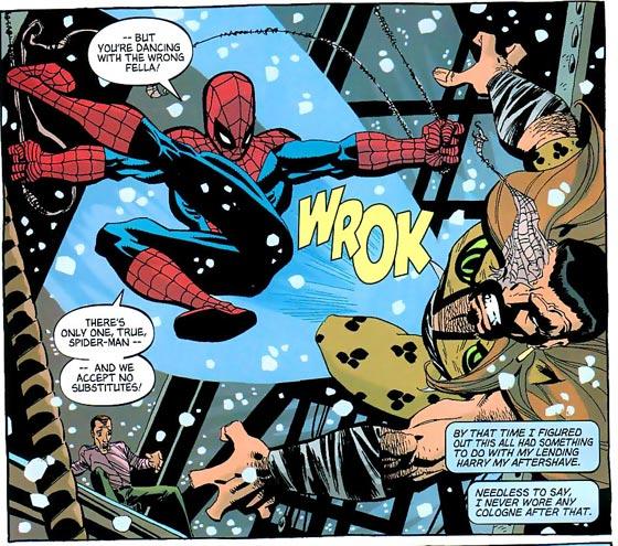 Spidey vs. Kraven met Harry Osborn op de achtergrond.