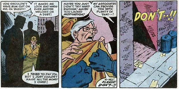 Nathan wordt in elkaar geslagen. Uit: Amazing Spider-Man #271. Tekeningen: Ron Frenz.