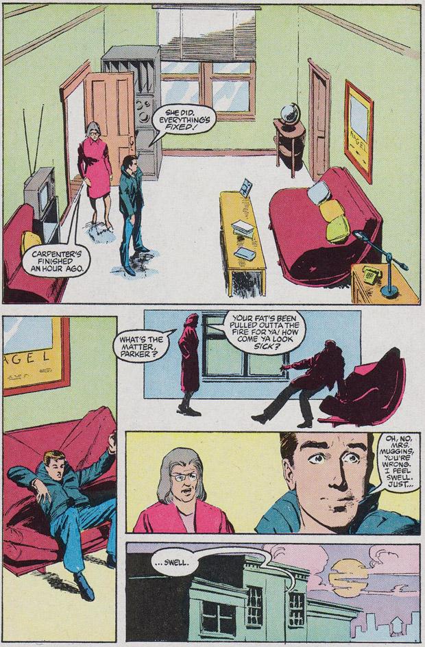 Uit: Web of Spider-Man #15. Tekeningen: Mike Harris. Inkt: Kyle Baker. Tekst: David Michelinie.