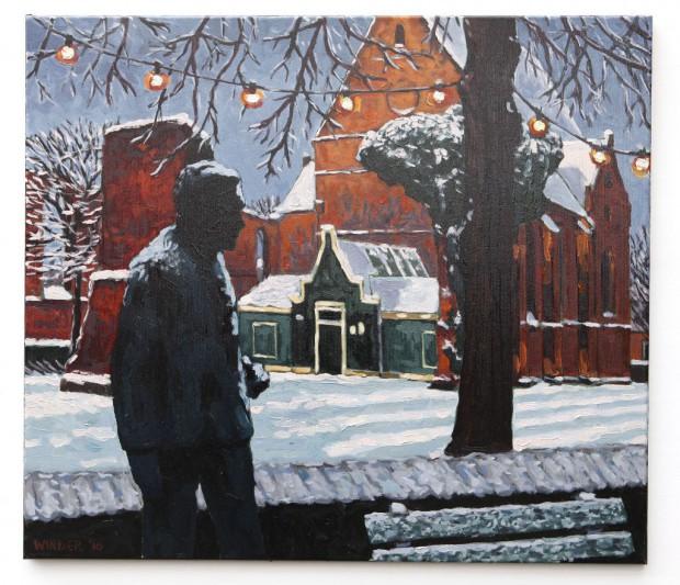 'Beeld van A.R. Holst in sneeuw'