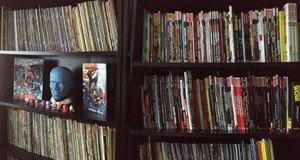 Een deel van Alex' stripverzameling. Hij had helaas geen foto waarop hij een comic aan het lezen is.