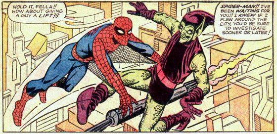 Spider-Man en the Green Goblin ontmoeten elkaar voor het eerst. ASM #14. Illustratie: Steve Ditko.