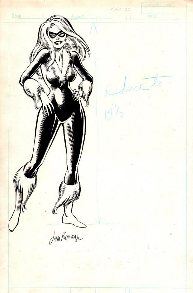 Een oude pin-up van Black Cat door John Romita Jr. Aan de tekenstijl te zien heeft hij deze ergens in de vroege jaren tachtig getekend.