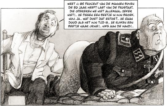 Prostaatonderzoek wordt grappig in beeld gebracht.