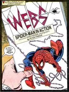 Het omslag van het fictieve boek 'Webs'. Illustratie: Todd McFarlane