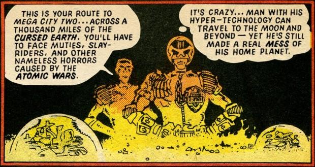 Soms laat Mills personages direct zijn visies verkondigen zoals in dit fragment uit Judge Dredd: The Cursed Earth, waarin Dredd (rechts) de gevolgen van de atoomoorlog becommentarieert. Dit verhaal verscheen in 1978 ten tijde van de Koude Oorlog. Illustratie: Mike McMahon.