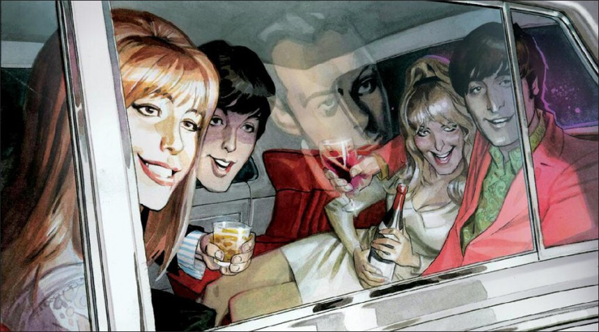The Beatles having a grand ol time. In the reflection of the car window we see Brian Epstein, staying behind.