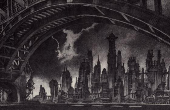 Ontwerp voor Gotham City van Anton Furst. Bron: lifewithoutbuildings.net