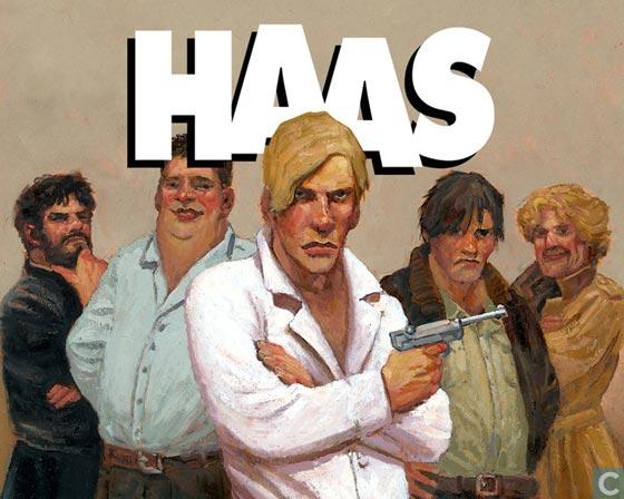 De cast van haas geschilderd door Fred de Heij. Helemaal links: Haas, de blonde van Donkersloot in het midden.