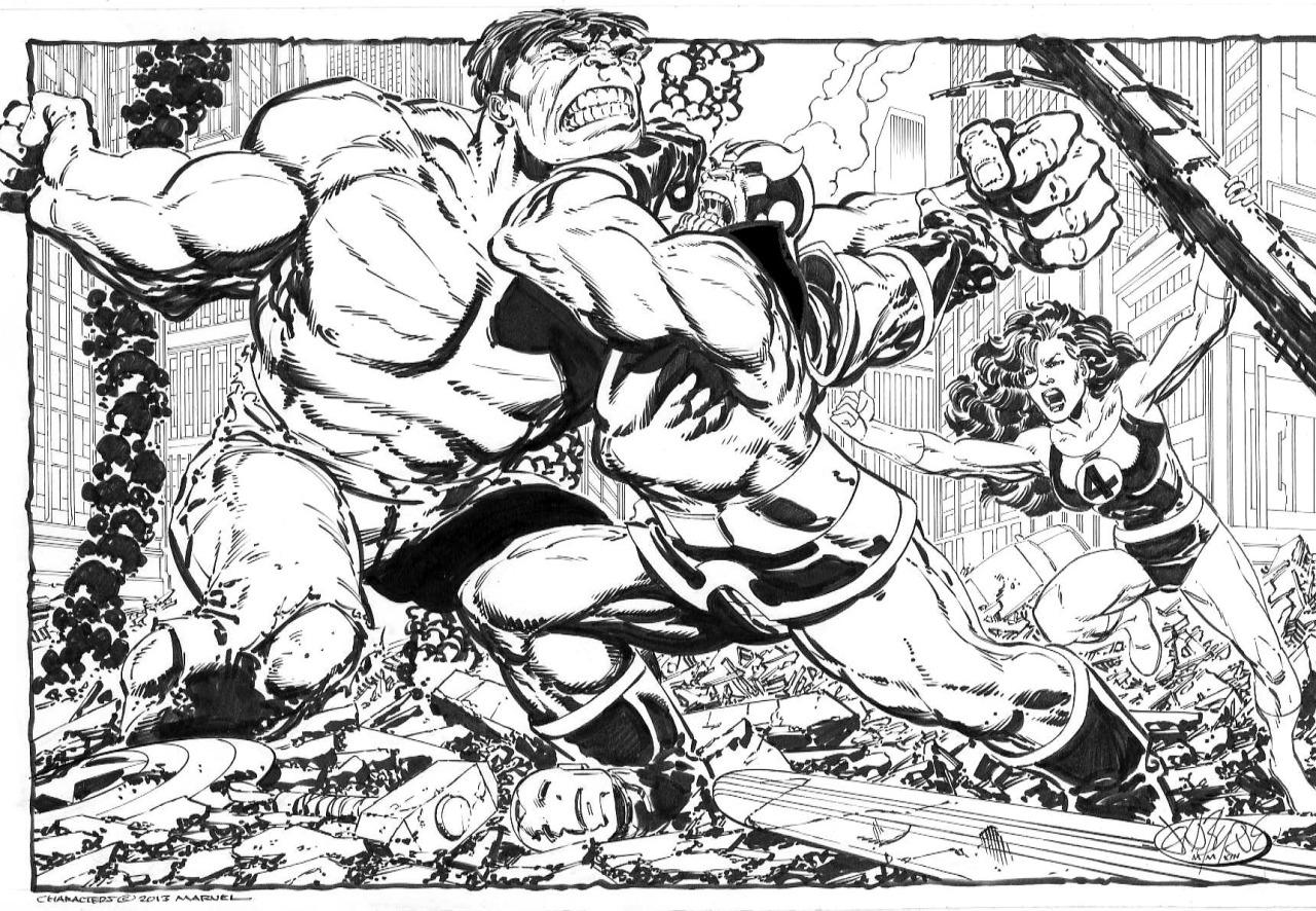 Thanos vs Hulk & She-Hulk. Commission 2013. Bron: johnbyrnedraws.tumblr.com