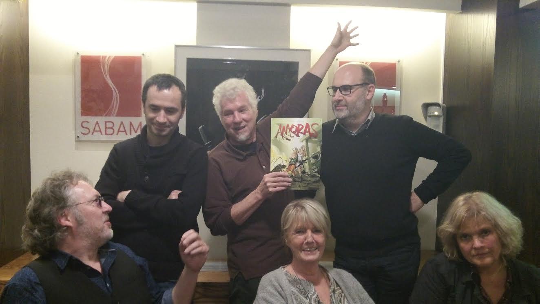 De jury. Van links naar rechts: Luc Morjaeu, Michael Minneboo, Robert van der Kroft, Helena Vandersteen, Toon Horsten en Lieve Scheers.