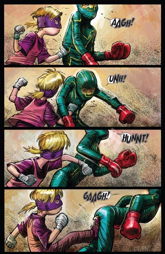 Hit-Girl brengt Kick-Ass wat gevechtstechnieken bij. Illustratie: John Romita Jr.