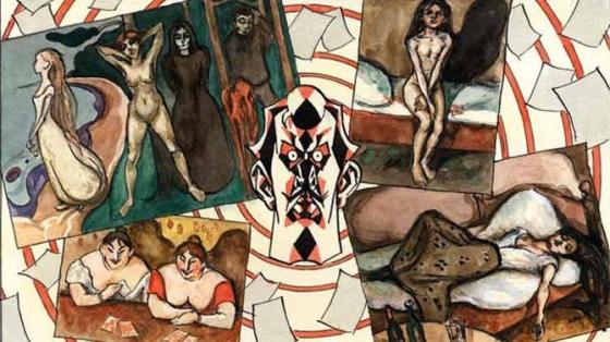 Munch omringt door zijn werk.