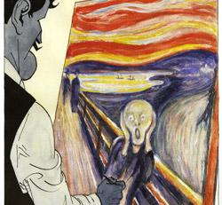 Munch werkt aan 'De schreeuw'.