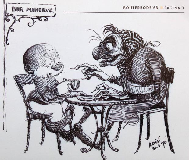 Paulus en Eucalypta. Door Dulieu op vakantie getekend. Bron: Bouterbode. © erven Jean Dulieu.