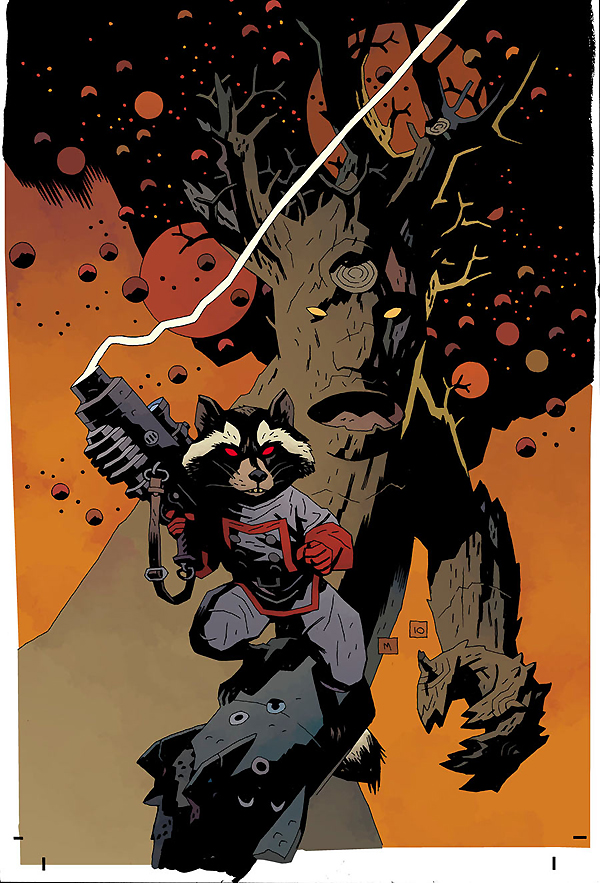 Rocky Raccoon and Groot drawn in the expressive Mignola style.