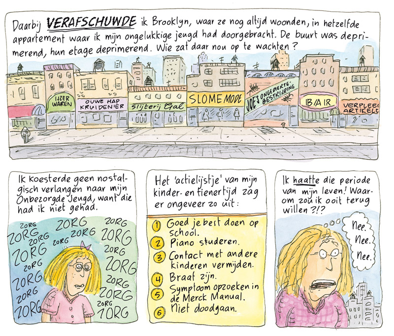 Kunnen we het niet over iets leukers hebben van Roz Chast. (De Bezige Bij, 2015). Hiervoor moest Frits bewust lelijk letteren.