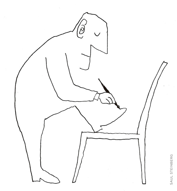 Cartoon van Saul Steinberg opgenomen in Leve het welwezen.