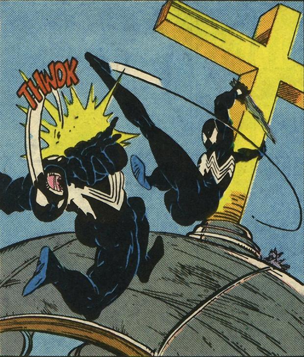 Spidey kicks venom. Todd McFarlane. (ASM #300)