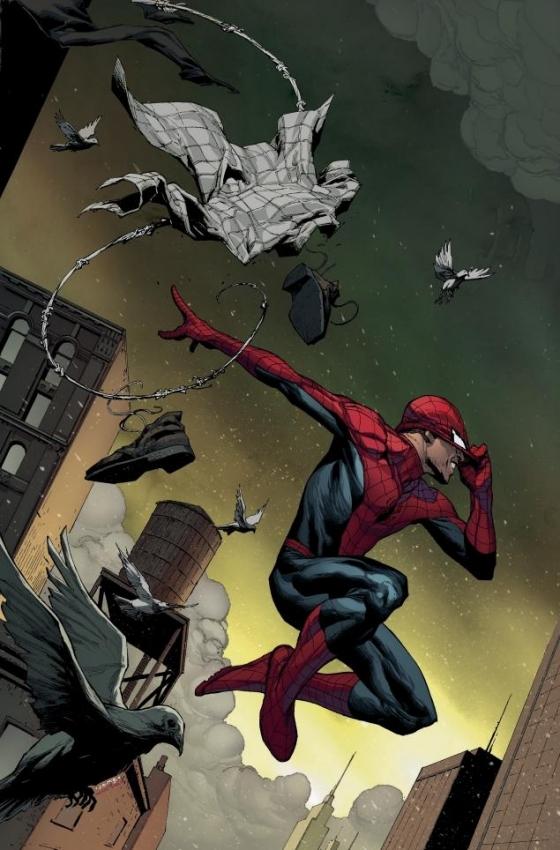 De variant cover van Amazing Spider-Man #1 door Jerome Opeña. De officiële cover is getekend door Humberto Ramos, dus daar krijg ik hoofdpijn van.