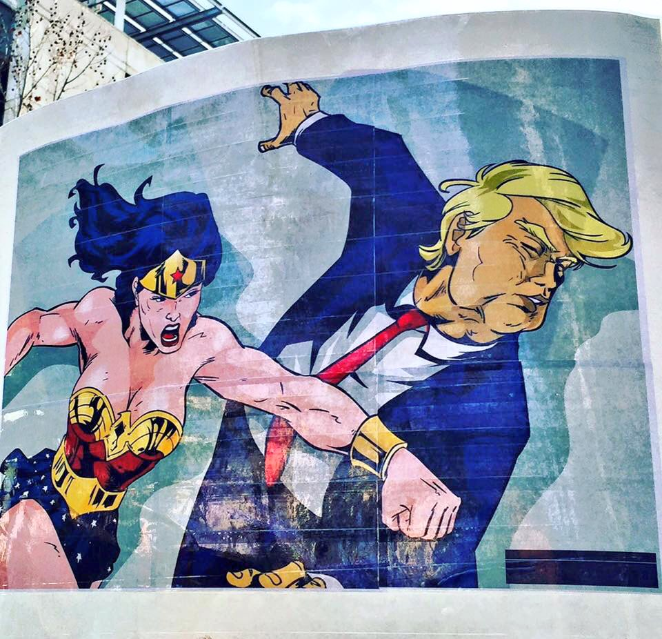 street art wonder woman trump