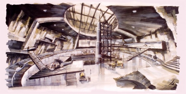 Concept art interieur vulkaan uit 'You Only Live Twice' Ken Adam. Bron: http://illustrated007.blogspot.nl/2011/04/ken-adam-art.html